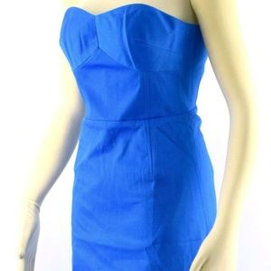 TED BAKER Midi Dress Blue ALODIA Strapless Cotton
